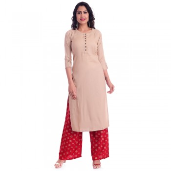 ASMANII CHIKU ROUND NECK KURTI  RED GOLDEN PALAZZO SET JAIPUR