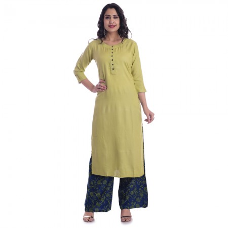 ASMANII GREEN ROUND NECK KURTI  BLUE GREEN PALAZZO SET JAIPUR