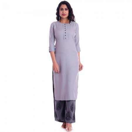 ASMANII GREY ROUND NECK KURTI  GREY BLACK PALAZZO SET JAIPUR