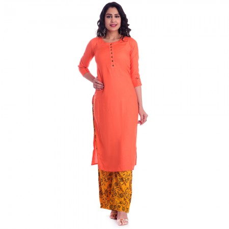 ASMANII ORANGE ROUND NECK KURTI  YELLOW BLACK PALAZZO SET JAIPUR