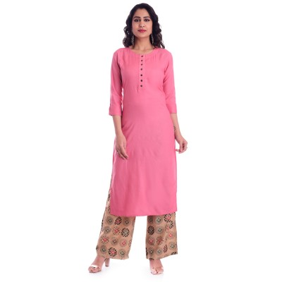 ASMANII PINK ROUND NECK KURTI  BROWN MULTICOLOR PALAZZO SET JAIPUR
