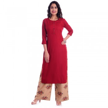 ASMANII RED ROUND NECK KURTI  BROWN RECTANGLE PALAZZO SET JAIPUR