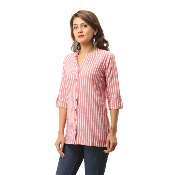 ASMANII WOMEN RED COTTON CASUAL STRIPED SHIRT JAIPUR