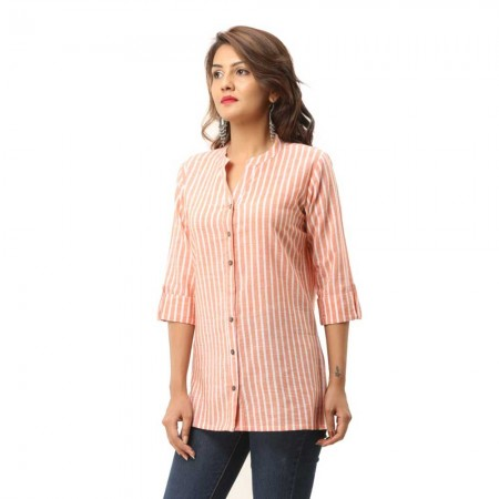ASMANII WOMEN ORANGE COTTON CASUAL STRIPED SHIRT JAIPUR