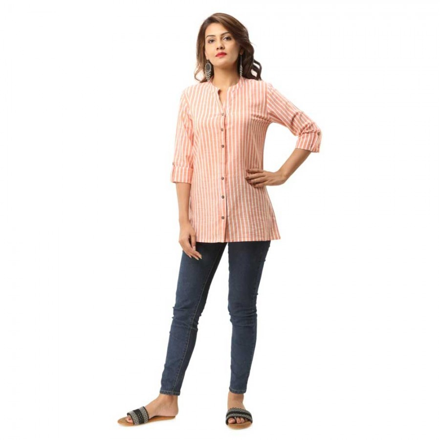 ORANGE COTTON CASUAL STRIPED SHIRTS JAIPUR