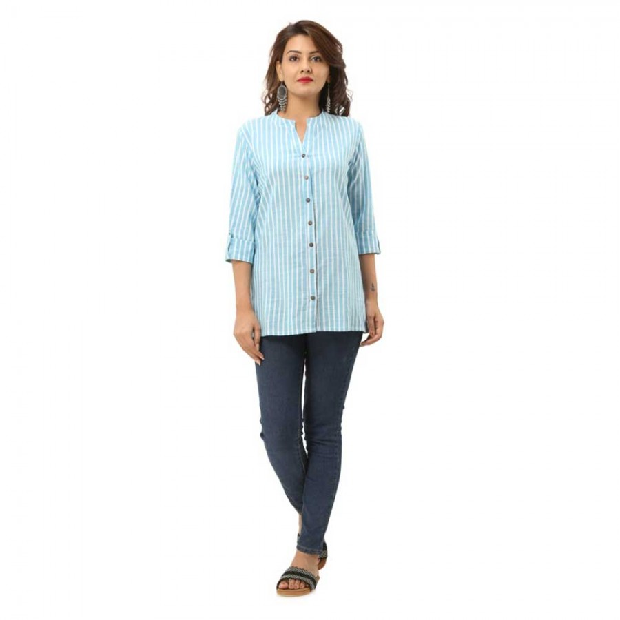 LIGHT BLUE COTTON CASUAL STRIPED SHIRTS JAIPUR