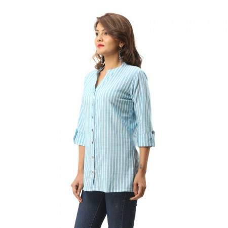 ASMANII LIGHT BLUE COTTON CASUAL STRIPED SHIRT FOR WOMEN JAIPUR