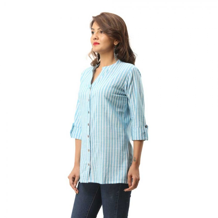 LIGHT BLUE COTTON CASUAL STRIPED SHIRT