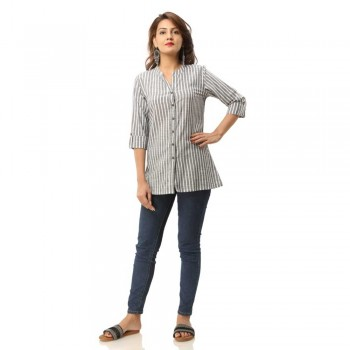 GREY COTTON CASUAL STRIPED SHIRTS JAIPUR