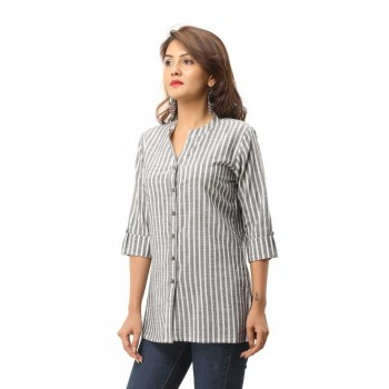 GREY COTTON CASUAL STRIPED SHIRT