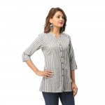 ASMANII GREY COTTON CASUAL STRIPED SHIRT FOR WOMEN JAIPUR