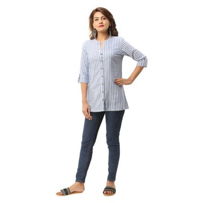 BLUE COTTON CASUAL STRIPED SHIRTS JAIPUR