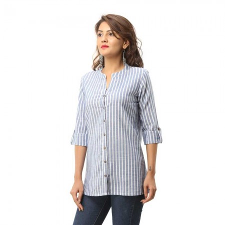 ASMANII BLUE COTTON CASUAL STRIPED SHIRT JAIPUR