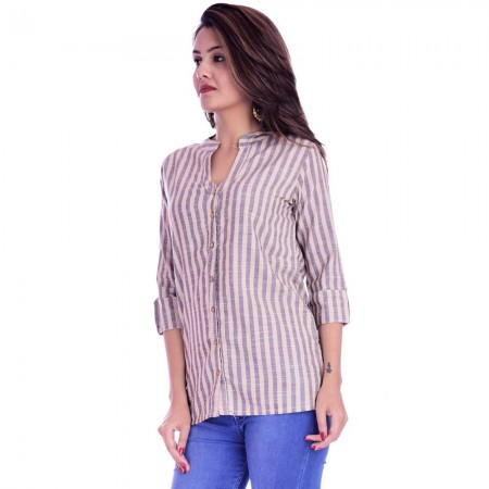 ASMANII CREAM GREY COTTON STRIPED  SHIRT JAIPUR