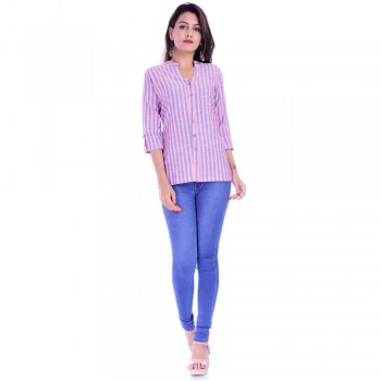 PINK BLUE STRIPED OPEN NECK SHIRTS JAIPUR