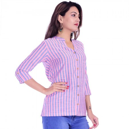 ASMANII WOMEN PINK BLUE COTTON CASUAL STRIPED SHIRT JAIPUR