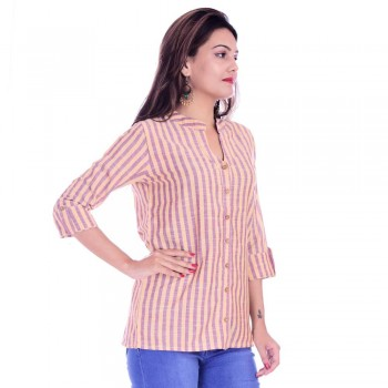 ASMANII YELLOW PURPLE COTTON CASUAL STRIPED SHIRT JAIPUR