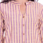 YELLOW PURPLE STRIPED OPEN NECK SHIRTS JAIPUR