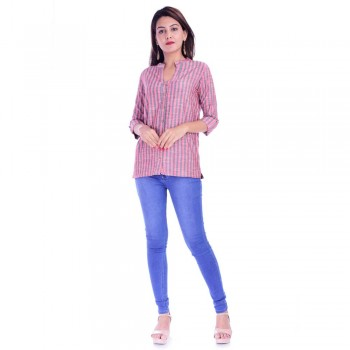 RED GREY STRIPED OPEN NECK SHIRTS JAIPUR