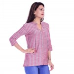 RED GREY COTTON CASUAL STRIPED  SHIRT