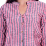ASMANII WOMEN RED GREY COTTON CASUAL STRIPED  SHIRT JAIPUR