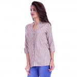 CREAM GREY STRIPED OPEN NECK SHIRTS JAIPUR
