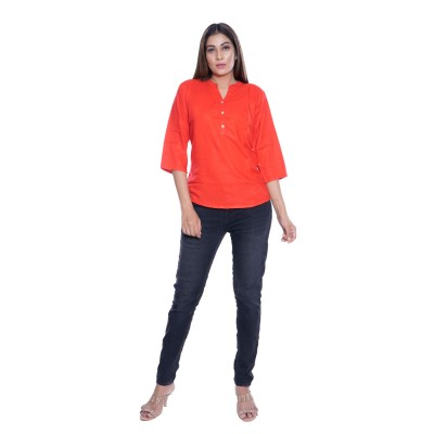 PLAIN CARROT RED RAYON TOPS FOR WOMEN JAIPUR