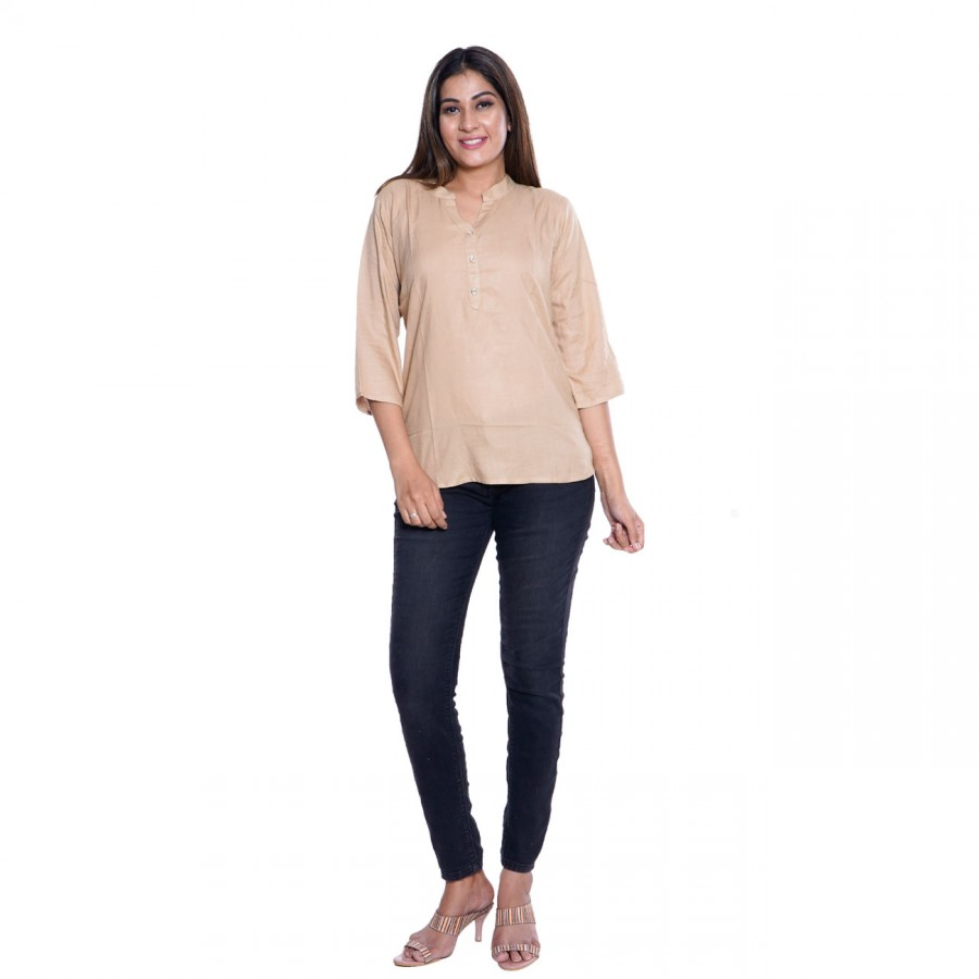 PLAIN CHIKU RAYON TOPS FOR WOMEN JAIPUR