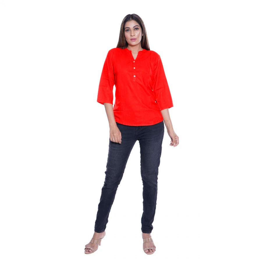 PLAIN RED RAYON TOPS FOR WOMEN JAIPUR