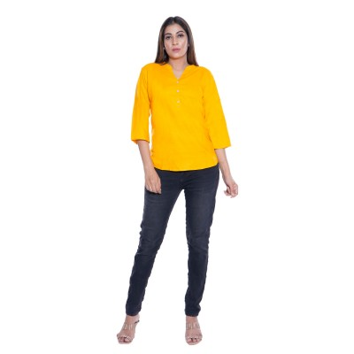PLAIN YELLOW RAYON TOPS FOR WOMEN JAIPUR