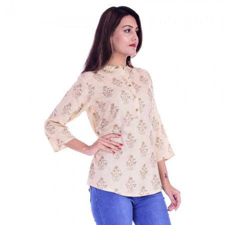 ASMANII WOMEN CREAM GREY FLOWER PRINTED RAYON TOP JAIPUR