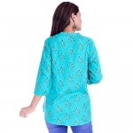 ASMANII WOMEN LIGHT BLUE GREY FLOWER PRINTED RAYON TOP JAIPUR