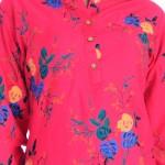 ASMANII WOMEN RED BLUE FLOWER PRINTED RAYON TOP JAIPUR