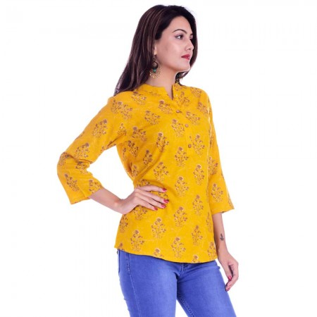 ASMANII WOMEN DARK YELLOW GREY FLOWER PRINTED RAYON TOP JAIPUR