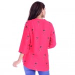 ASMANII WOMEN RED BLACK FLOWER PRINTED RAYON TOP JAIPUR