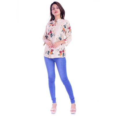 ASMANII WOMEN CREAM RED FLOWER PRINTED RAYON TOP JAIPUR