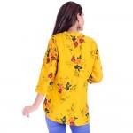 ASMANII WOMEN YELLOW  FLOWER PRINTED RAYON TOP JAIPUR