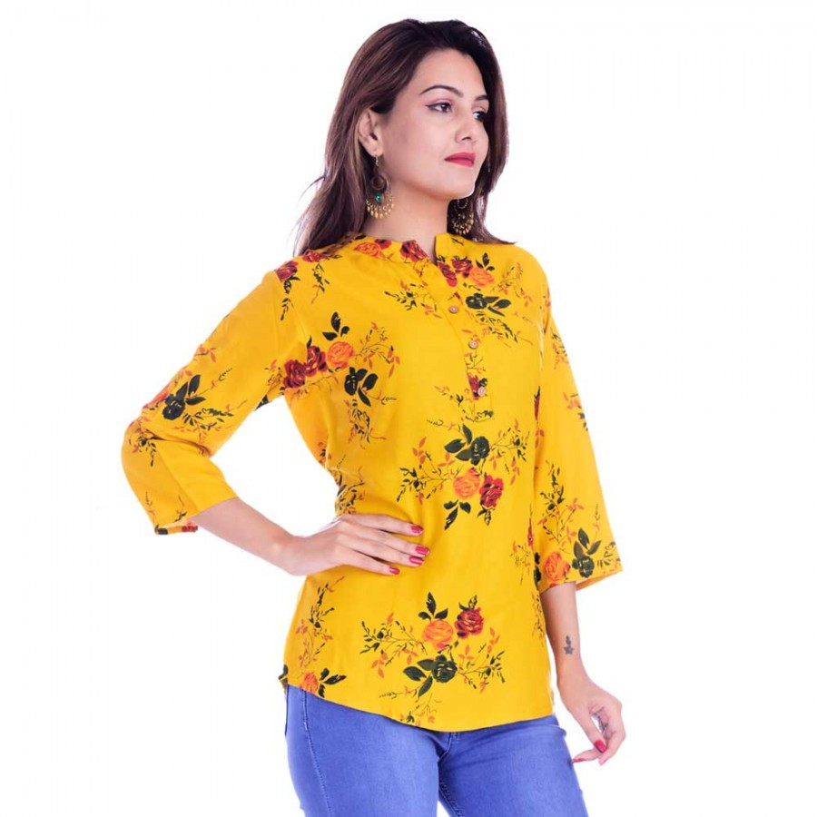 ASMANII WOMEN YELLOW  FLOWER PRINTED RAYON TOP JAIPUR