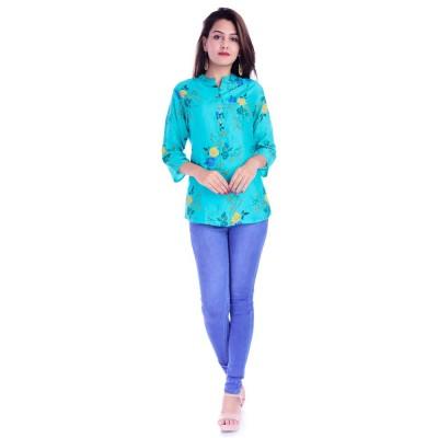 ASMANII WOMEN LIGHT BLUE YELLOW FLOWER PRINTED RAYON TOP JAIPUR