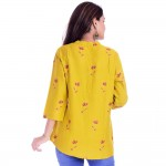 ASMANII WOMEN YELLOW RED FLOWER PRINTED RAYON TOP JAIPUR