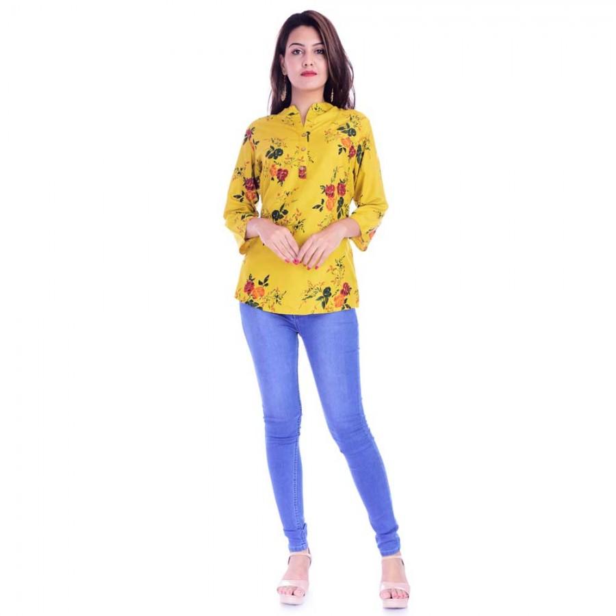 ASMANII WOMEN LIGHT YELLOW FLOWER PRINTED RAYON TOP JAIPUR
