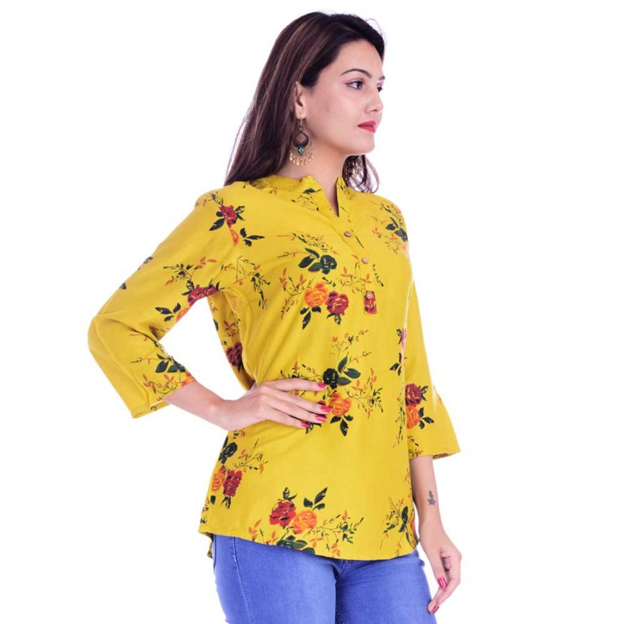 ASMANII WOMEN LIGHT YELLOW FLOWER PRINTED RAYON TOP JAIPUR