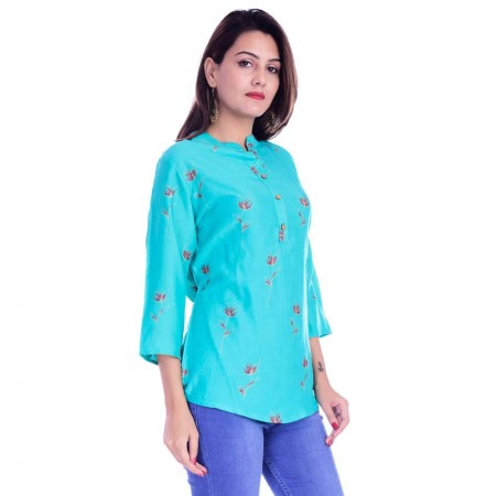 ASMANII WOMEN LIGHT BLUE RED FLOWER PRINTED RAYON TOP JAIPUR