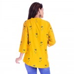 ASMANII WOMEN YELLOW GREY FLOWER PRINTED RAYON TOP JAIPUR