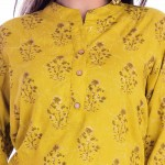 ASMANII WOMEN LIGHT YELLOW PRINTED RAYON TOP JAIPUR