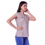 ASMANII CREAM GREY FRILL STRIP V NECK TOP JAIPUR