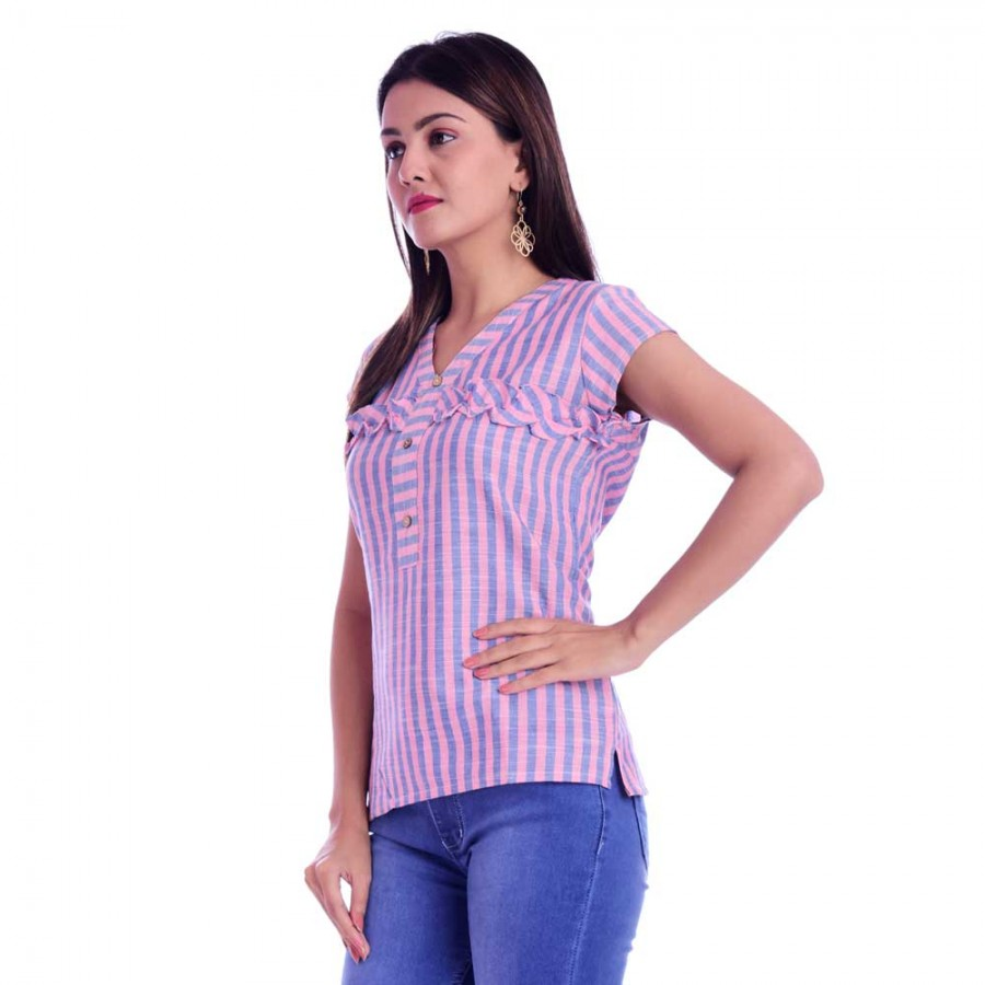 ASMANII  PINK BLUE FRILL STRIP V NECK TOP JAIPUR