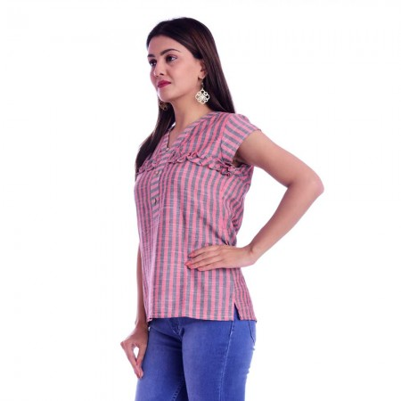 ASMANII RED GREY FRILL STRIP V NECK TOP JAIPUR