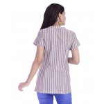 ASMANII WOMEN CREAM GREY STRIPED V NECK WITH BUTTON COTTON TOP JAIPUR