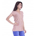 ASMANII WOMEN YELLOW PURPLE STRIPED V NECK BUTTON COTTON TOP JAIPUR